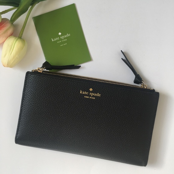 705f3488de774 Kate Spade Malea Mulberry Street Black Zip Wallet